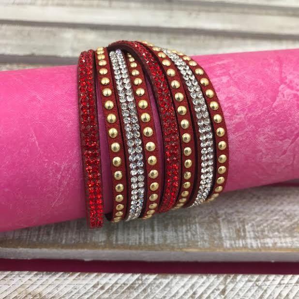 Red Leather Wrap Bracelet with Rhinestones
