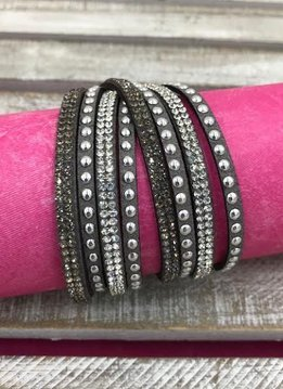 Grey Leather Wrap Bracelet with Rhinestones