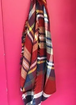 Red, Blue, and White Plaid Blanket Scarf
