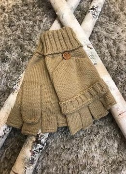 Camel Knit Open Finger Glove with Cover