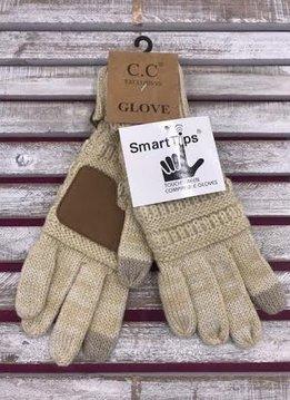 Beige Knit CC Smart Tip Gloves