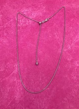 Italian Sterling Silver Adjustable Round Box Chain