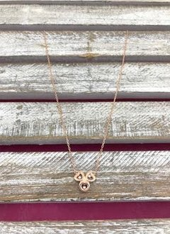 Italian Sterling Silver Rose Gold Plated Hearts Necklace