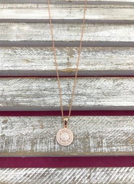Italian Sterling Silver Rose Gold Round Crystal Pendant