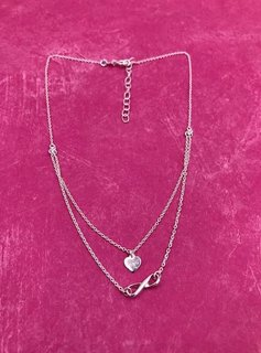 Italian Sterling Silver Simple Infinity and Heart Choker
