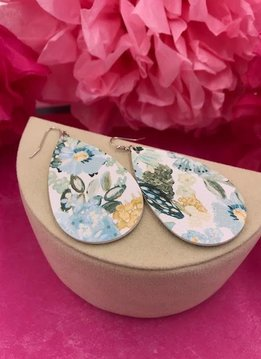 White Faux Leather with Blue Floral Design Earrings