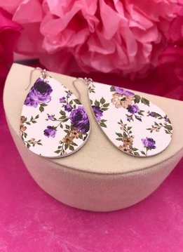 White Faux Leather with Purple Floral Design Earrings