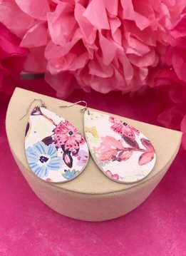 White Faux Leather with Pink Floral Design Earrings