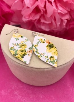 White Faux Leather Teardrop with Yellow Floral Design Earrings