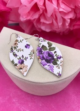 White Faux Leather Teardrop with Purple Floral Design Earrings