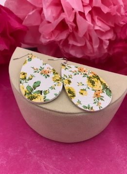 White Faux Leather with Yellow Floral Design Earrings