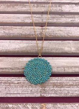 Turquoise Beaded Pendant on Long Gold Chain