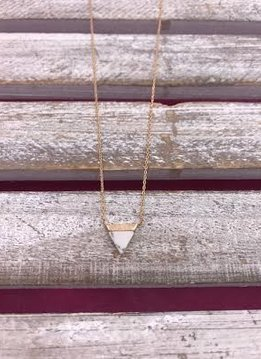 Gold Necklace with Triangle Marble Pendant