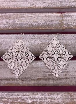Silver Diamond Shaped Earrings with Intricate Design
