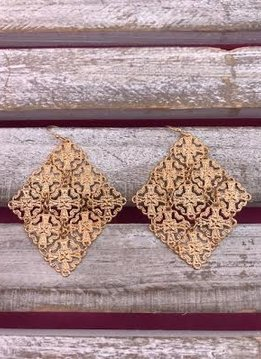 Gold Diamond Shaped Earrings with Intricate Design