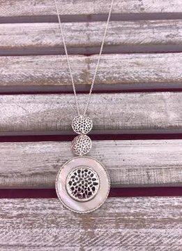 Long Silver Necklace with Three Circles