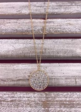 Long Gold Necklace White Beaded Circle Pendant