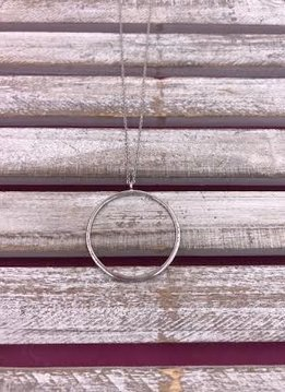 Long Silver Necklace with Open Circle Pendant