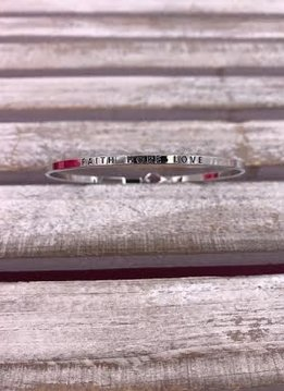 "Silver ""Faith Hope Love"" Bangle"