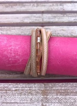Pink Faux Leather Magnetic Clasp Bracelet