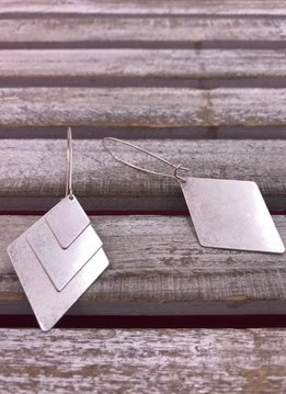 Silver Triple Triangle Dangle Earrings