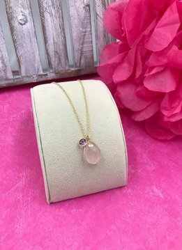 Sterling Silver 14K Gold Plated 18 inch Rose Quartz Necklace