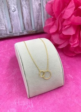 Sterling Silver 14K Gold Plated Link Circle Necklace