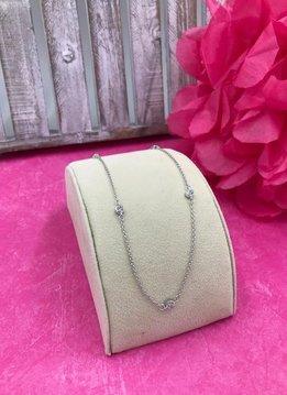 Sterling Silver 16 inch Bezel Set CZ Necklace