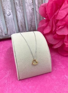 Sterling Silver 16 inch Chain with 14K Gold Plated Open Heart