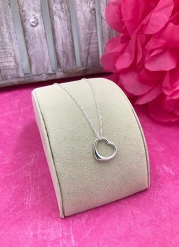 Sterling Silver 18 inch Open Heart Necklace