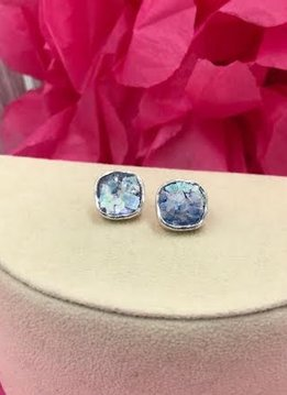 Sterling Silver Soft Diamond Shape Roman Glass Stud Earrings