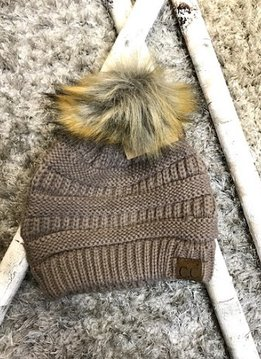 Taupe Winter Hat with Natural Faux Pom