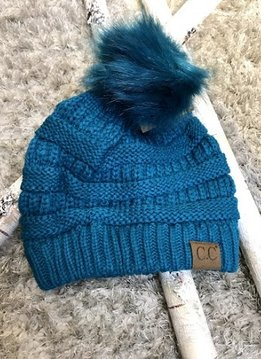 Teal Knit Winter Hat with Color Matching Pom