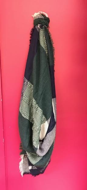 Green and Blue Plaid Blanker Scarf