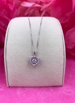Sterling Silver Dancing Stone Heart Pendant