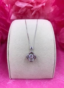 Sterling Silver Cubic Zirconia Dancing Stone Flower Pendant