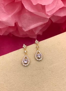 Gold AAA Cubic Zirconia Dainty Tear Drop Earrings