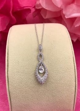 Silver AAA Cubic Zirconia Dangling Pave Tear Drop Necklace