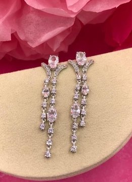 Silver AAA Cubic Zirconia Oval Long Dangling Earrings