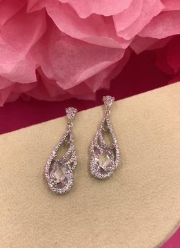 Silver AAA Cubic Zirconia Oval Enclosed Dangle Earrings