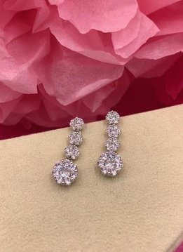 Silver AAA Cubic Zirconia Dangling Flower Earrings
