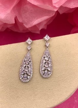 Silver AAA Cubic Zirconia Long Pave Dangling Earrings with Multi-Shaped Stones