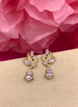Gold AAA Cubic Zirconia Paisley Tear Drop Earrings