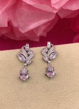 Silver AAA Cubic Zirconia Paisley Tear Drop Earrings