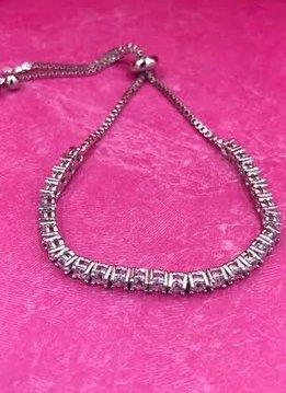 Silver AAA Cubic Zirconia Adjustable Bracelet