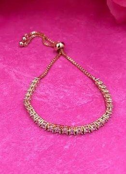 Gold AAA Cubic Zirconia Adjustable Bracelet