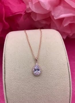 Rose Gold AAA Cubic Zirconia Tear Drop Necklace