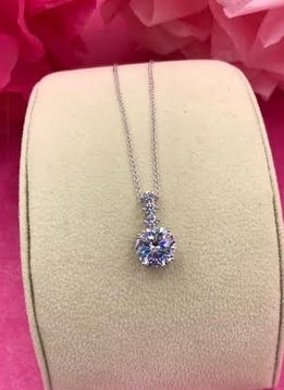 Silver Necklace with Round AAA Cubic Zirconia Pendant