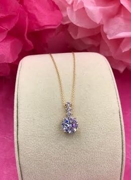 Gold Necklace with Round AAA Cubic Zirconia Pendant