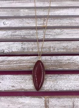 Long Gold Necklace with Red Stone Pendant